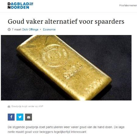 Goud vaker alternatief voor spaarders