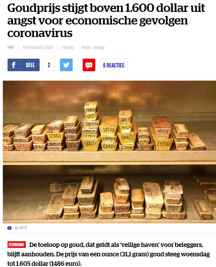 Goudprijs stijgt boven 1.600 dollar uit angst voor economische gevolgen coronavirus