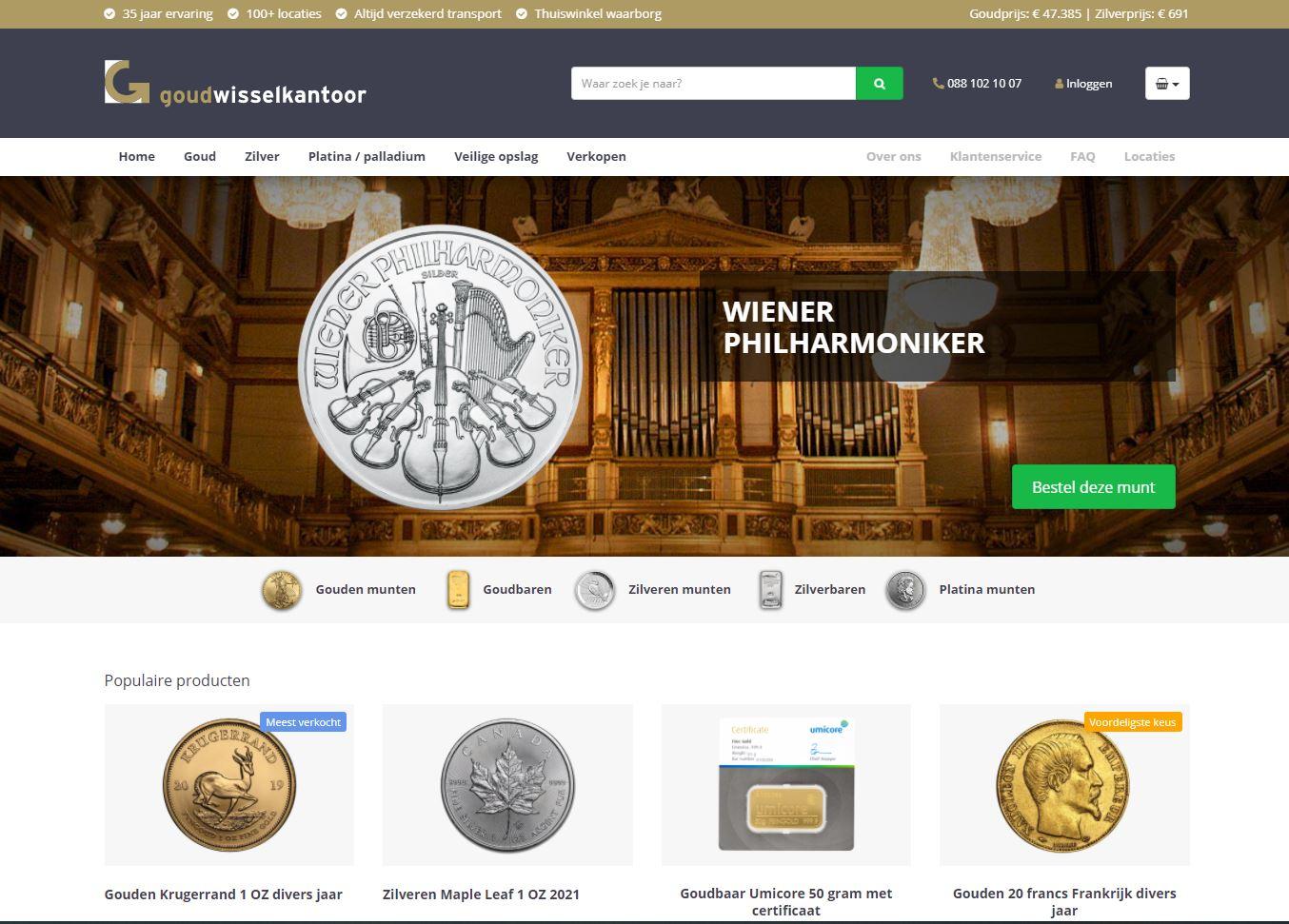 Goudwisselkantoor lanceert webshop voor edelmetaal